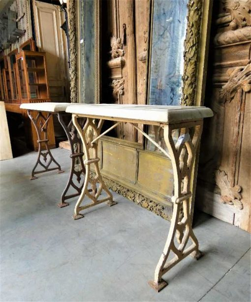 Antique sidetable with cast iron base & white marble top-3