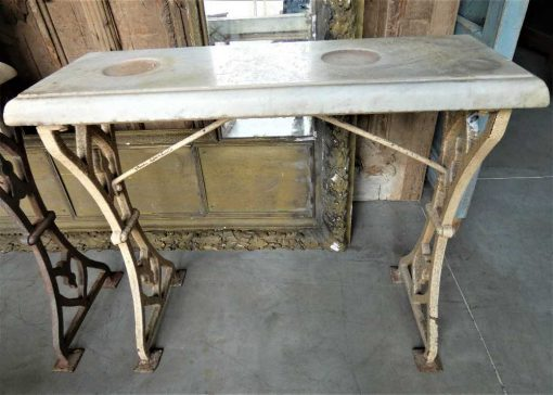 Antique sidetable with cast iron base & white marble top-4