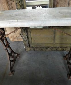 Antique sidetable with cast iron base & white marble top-5