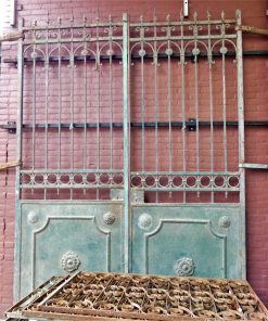 Antique green wrought iron gate-1