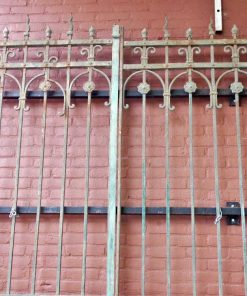 Antique green wrought iron gate-2