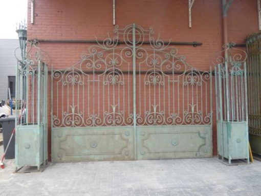 Wrought iron gate with columns-1