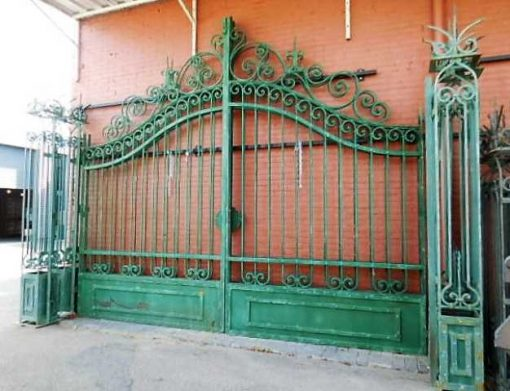 Wrought iron gate with columns-5