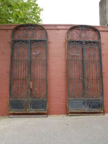 Two antique black wrought iron gates-1