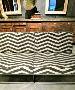 Black/white fabric couch with metal frame-1