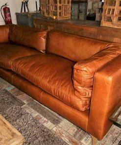 Cognac leather couch-1