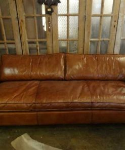 Leather brown couch-1