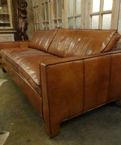 Leather brown couch-2