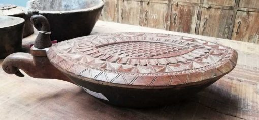 Decorative carved wooden turtle shell-2