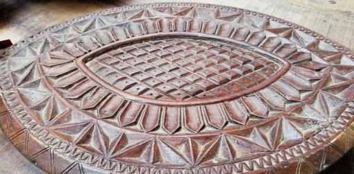 Decorative carved wooden turtle shell-3