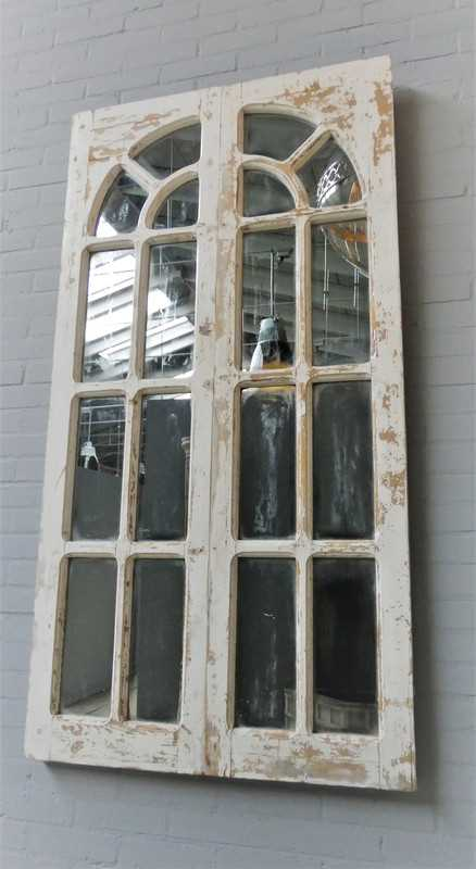 Antique Gothic window with mirrors-4
