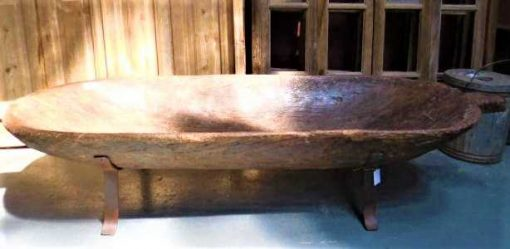 Large old wooden trough on iron stand-1