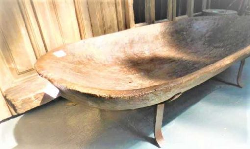 Large old wooden trough on iron stand-2