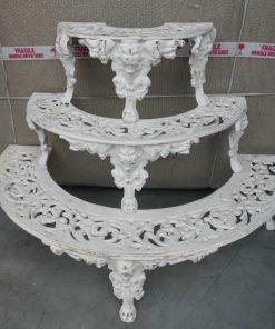 White semi-circular cast iron plants stand-1