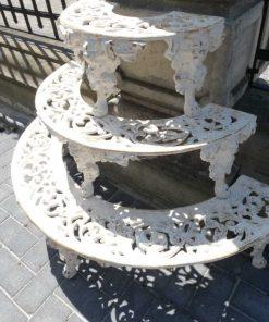 White semi-circular cast iron plants stand-4