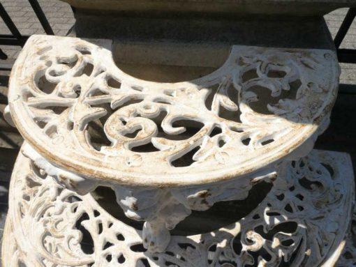 White semi-circular cast iron plants stand-5