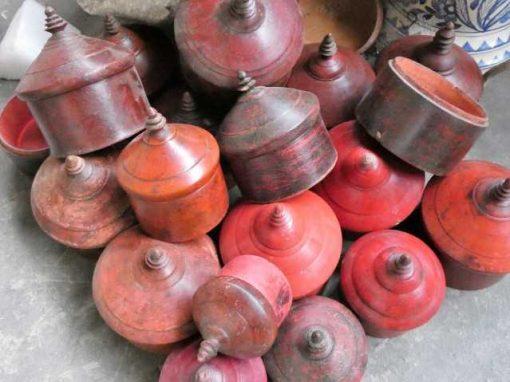 Vintage round red wooden jars-1