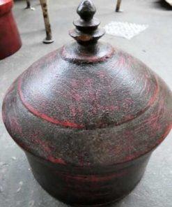 Vintage round red wooden jars-2