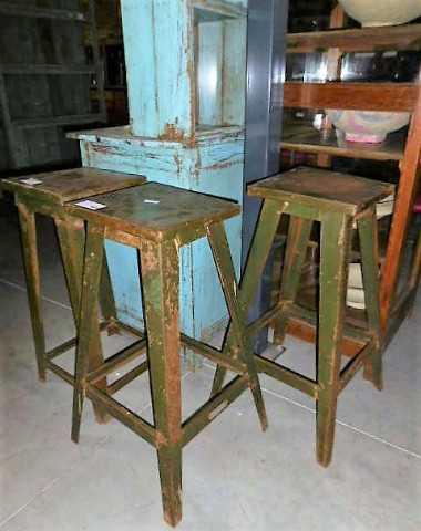 Vintage metal plants table / stool-2