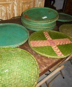 Vintage flat green rattan dishes-1