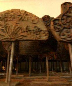 Antieke houten stof stempels op standaard-2