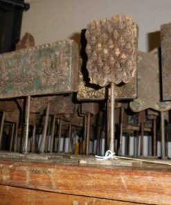 Antique wooden fabric stamps on stand-5