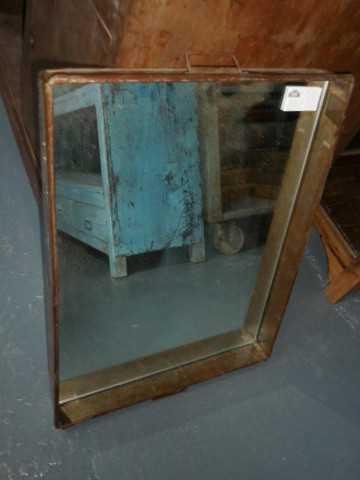 Vintage zinc tray / bread basket with mirror-1