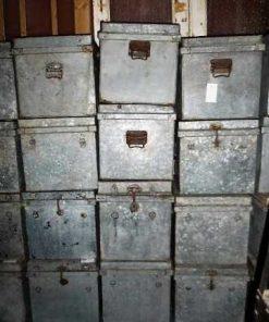 Vintage zinken bakken met deksel-1