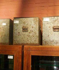 Vintage zinken bakken met deksel-4