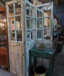Antieke teakhouten kamerscherm met spiegels-1