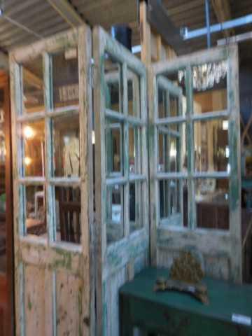 Antieke teakhouten kamerscherm met spiegels-2