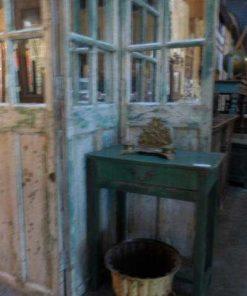 Antieke teakhouten kamerscherm met spiegels-3