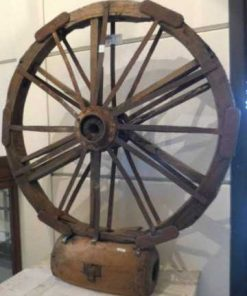 Decorative antique wheel on stand-1