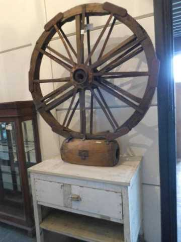 Decorative antique wheel on stand-3