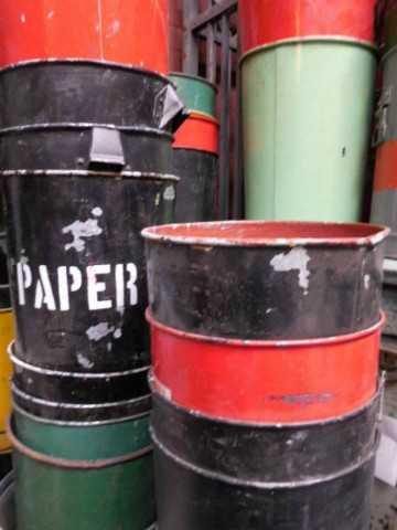 Vintage colored trash bins-1