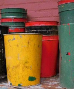Vintage colored trash bins-4