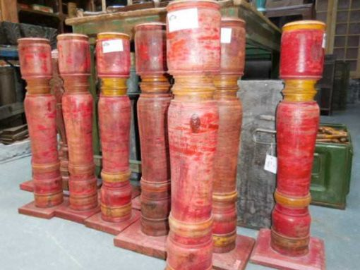 Large red teak candlesticks-1