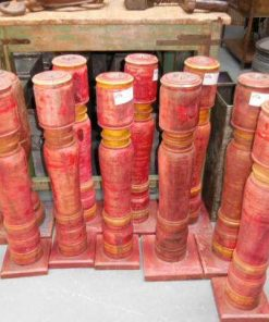 Large red teak candlesticks-2