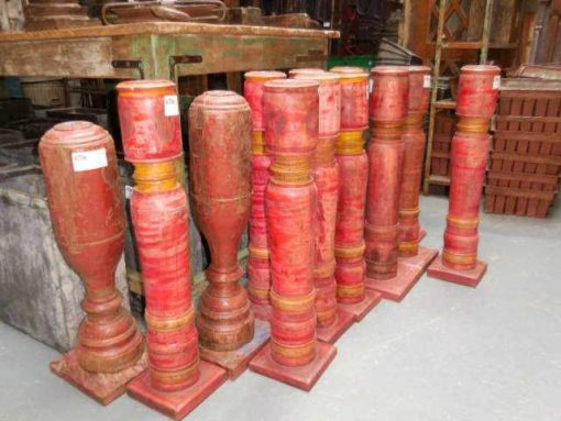 Large red teak candlesticks-3