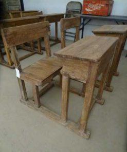antiek hout schoolbankje-1