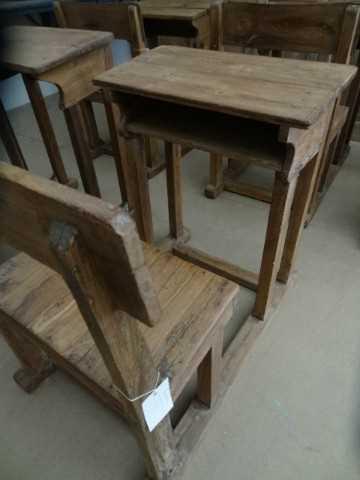 Antike Holzschulbank-3