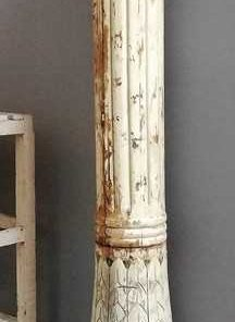 Oude Witte Houten Zuil / Pilaar / Baluster-1