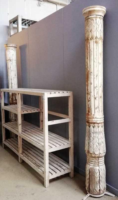 Oude Witte Houten Zuil / Pilaar / Baluster-2