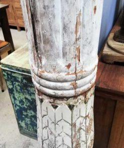 Oude Witte Houten Zuil / Pilaar / Baluster-3