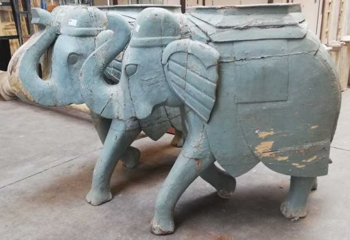 Antique wooden elephants-1