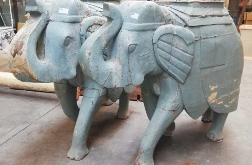 Antique wooden elephants-2