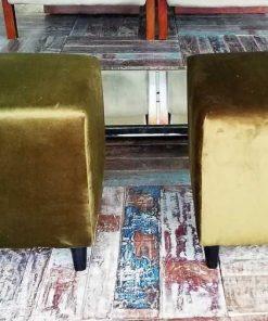 Zwei grün-samtene Vintage-Puffs / Schemel-1