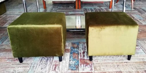 Two Green Velvet Vintage Pouffes / Stools-1