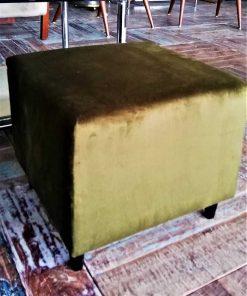 Two Green Velvet Vintage Pouffes / Stools-3