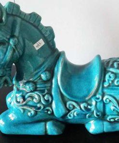 Antieke Turquoise Beeldje Van Een Paard-1